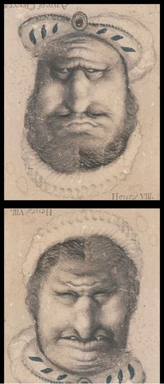 Reversible face, drawn by Rex Whistler to amuse a six-year-old child convalescing in bed