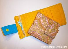Wallet Free Sewing Pattern and Tutorial. great gift, scrap buster, fat quarter project.