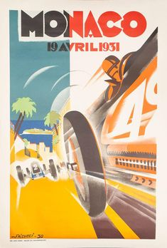 Monaco 19 Avril Lithograph after the original as reproduced by the Automobile Club de Monaco, printed in Paris, 1000 x 680 mm. 19 Avril, Vintage Posters, Monaco, Prints, Movie Posters, Art, Poster Vintage, Art Background, Film Poster