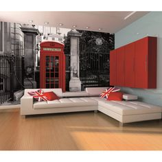 1 Wall London Telephone Box Wall Mural - 1 Wall from I love wallpaper UK