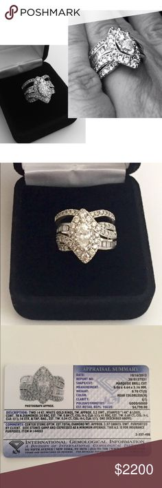 White • Gold • Wedding • Set (Price now Firm) Description • Two 14kt. white gold rings, 77 natural diamonds with 1.87 carats. Engagement ring center cut natural diamond stone is marquise brill cut with 0.70 carats for a total of 2.57 Carats. DWT 5.2. Brand • International Gemological Institute • Purchased from Sam's Club.  Size • 7, can be resized.  Condition • Beautiful, new condition. Purchased around Dec. 2013, was worn less than two years total. Ring NOT included in bundle discount…