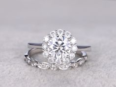 2 Moissanite Bridal Set,Vintage Floral Engagement ring,Mossanite Halo,Art Deco,Diamond Wedding band,14k,7mm Round Cut,Plain white gold by popRing on Etsy