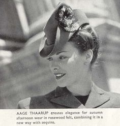 1940s hat, millinery by Aage Thaarup (1941): elegance for autumn afternoon.