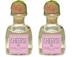 Custom Patron Tequlia Mini Bottle Labels Personalized Wedding Favors Waterproof Label Rehearsal Dinner Bridal Shower Wedding Reception Gifts