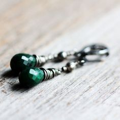 Emerald May Birthstone Earrings on Sterling Silver Lever Back Ear Wires - Evergreen - Birthstone Jewelry Under 50 Christmas Holiday