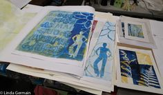 3 quick steps to get Started with Gelatin Printing  ~  gelatin plate monotype prints by linda germain