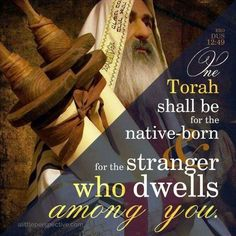 """The same law (teaching, instruction, Torah) shall apply to the native as to the stranger who sojourns among you."""" Exodus 12:49"""