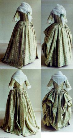 Rear view, robe à l'Anglaise worn à la Polonaise, 1780-1800