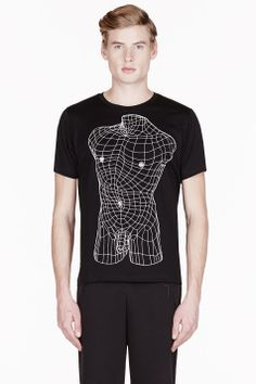 c0ceae6d CHRISTOPHER KANE Black geometric male nude print t-shirt Christopher Kane, Printed  Shirts,