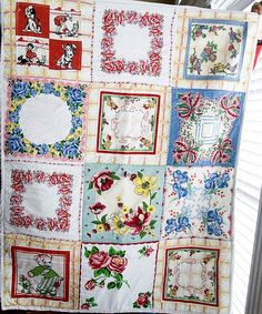 vintage hankie quilt   The tutorial is here:  www.polkadotchair...