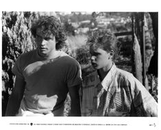 Corey Haim and Jason Patric in The Lost Boys Lost Boys Movie, The Lost Boys 1987, I Movie, Jason Patric, Billy Wirth, Corey Haim, Good Looking Actors, Never Grow Old, Nicolas Cage