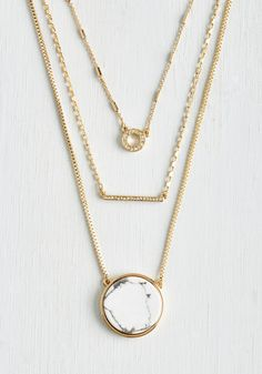 Howlite at the Moon Necklace. Enhance the elegance of your evening ensemble with this tri-stranded necklace! #gold #modcloth