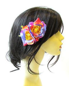 #Double #rainbow rose flower hair comb #headpiece rockabilly pride floral clip 16,  View more on the LINK: http://www.zeppy.io/product/gb/2/112277585184/