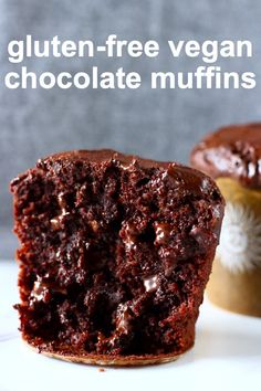 These Gluten-Free Vegan Chocolate Muffins are super chocolatey, rich and fudgy and make a great healthier dessert or snack! Healthy Vegan Dessert, Vegan Dessert Recipes, Vegan Treats, Dairy Free Recipes, Cookie Recipes, Egg Free Desserts, Best Gluten Free Desserts, Healthier Desserts, Healthy Recipes