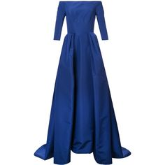 Carolina Herrera off the shoulder solid faille gown (95.195 ARS) ❤ liked on Polyvore featuring dresses, gowns, blue, blue gown, blue off the shoulder dress, off shoulder dress, off the shoulder evening dress and blue evening dresses