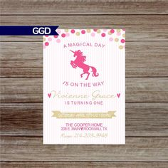 A personal favorite from my Etsy shop https://www.etsy.com/listing/501835128/unicorn-birthday-party-invitation-little