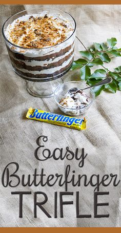Easy, crowd-pleasing triple chocolate Butterfinger Trifle recipe! Magical combination of creamy with a little Butterfingery crunch. Perfect for summer potlucks and barbeques! (Needs two boxes of brownies and 3 butterfinger bars) Dessert Crepes, Köstliche Desserts, Delicious Desserts, Yummy Food, Plated Desserts, Pavlova, Yummy Treats, Sweet Treats, Cobbler