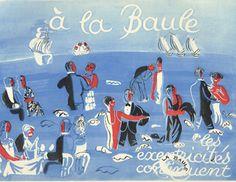 La Baule,beach,plage,hotel,vintage,poster,affiche,Raoul Dufy,1928,Seashore