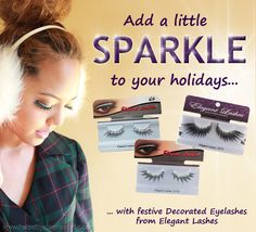 Sparkling rhinestone and glitter lashes from Elegant Lashes. Perfect for holidays and New Year's Eve!