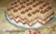 Hozzávalók: A lapokhoz: 12 tojás 24 dkg porcukor 20 dkg liszt 14 dkg darált dió… Eat Pray Love, Hungarian Recipes, Hungarian Food, Cake Bars, No Bake Cake, Cake Cookies, Cookie Recipes, Fondant, Sandwiches