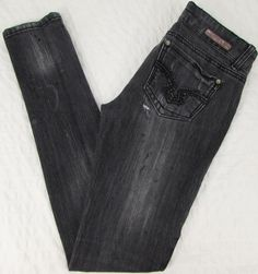 Women Almost Famous Jeans Super Skinny Distressed Destroyed Low Rise sz 3 X 31 #AlmostFamous #SlimSkinny