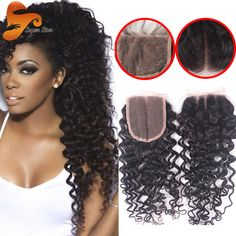 Cheap Virgin Human Hair Lace Closure Curly Lace Closure Bleached Kntos Malaisian Deep Curly Closure Free Middle 3 Part Closures