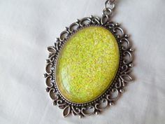 Bright Sunshine Yellow Glitter Nail Polish Pendant Necklace: 30x40mm Glass Oval in Antique Silver Scroll Edge Setting