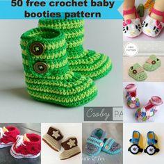 50 free crochet baby booties.