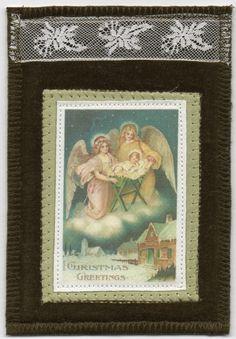 Christmas Fabric Postcard