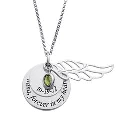 Remember your loved one with this unique memorial necklace. This beautiful piece of jewelry includes a pair of Sterling Silver discs, a Sterling Silver angel wing charm, and a birthstone.  The smaller disc measures 14mm in diameter and can be personalized by adding a date (XX-XX-XX). The larger disc measures 20mm in diameter and can be personalized with a name or message up to 25 characters. Select the appropriate birthstone and create a special way to remember your loved one.