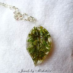 Medical marijuana in resin leaf necklace by LiquidPaintings on Etsy