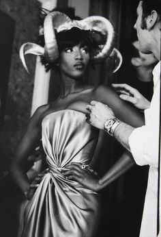 Naomi Campbell backstage in Alexander McQueen for Givenchy Haute Couture spring 1997