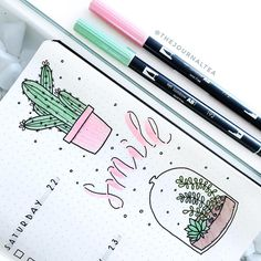A close up on amazing bullet journal illustrations by insta Check her amazing feed out! These little succulent/cactus doodles in journal are sure to start your day off with a smile! Easy Bullet Journal Ideas To Well Organize & Accelerate Your Ambitious Go Bullet Journal Journaling, Bullet Journal 2019, Bullet Journal Ideas Pages, My Journal, Bullet Journal Inspiration, Bullet Journal Layout, Journal Pages, Bullet Journal School, Journalling