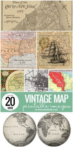 In addition to the 20+ #vintage #map printable images we…