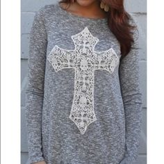 Super soft crochet cross top Crochet cross soft top - throw on with jeans and look cute - like wearing your favorite soft robe - feels wonderful! Very large fitting and roomy Tops Blouses
