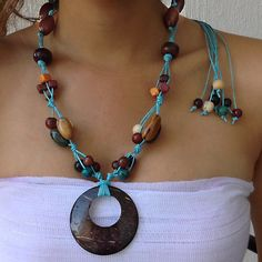 3 Piece Necklace Set Caribbean Ocean Turquoise with Bright Tropical Accents/ Organic Tagua, Acai Berries, Coconut Shell / Eco Friendly on Etsy, $46.00