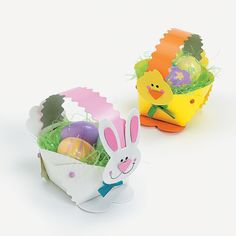 Paper Plate Bunny & Chick Easter Basket Craft Kit>> chick face is cute