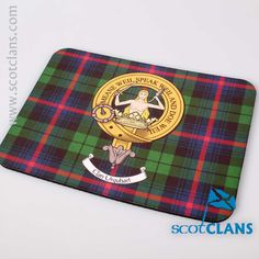 Urquhart Clan Crest and Tartan Mouse Mat. Free worldwide shipping available
