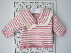 Pink and white Baby Sweater. $48.00, via Etsy.