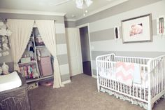 Gray and Pink Vintage Inspired Nursery - love the stripes!