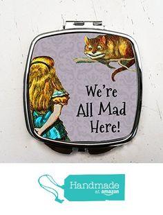 Purple Alice in Wonderland Pocket Mirror Cheshire Cat Compact Mirror We're All Mad Here from Bungalow Blue Designs https://www.amazon.com/dp/B01FYFW8HS/ref=hnd_sw_r_pi_dp_jn8Fxb9JZ64T4 #handmadeatamazon
