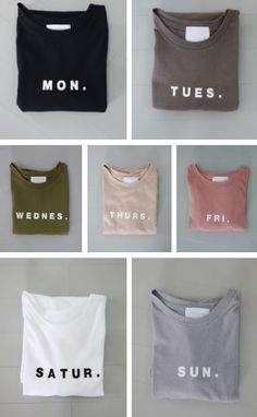 Fucking cute-ass days of the week shirts! shirt grey pink blue beige black white peach dark light hipster boho cute girly pale asthetic days of the week monday tuesday wednesday thursday friday saturday sunday Trend Fashion, Look Fashion, Womens Fashion, How To Have Style, Casual Outfits, Cute Outfits, Look Street Style, Girly, T Shirt Yarn