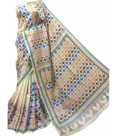 Multicolor Kantha Silk Stitch Saree Indian Attire, Indian Outfits, Indian Clothes, Indian Dresses, Tussar Silk Saree, Cotton Saree, Saree Dress, Prom Dress, Sari