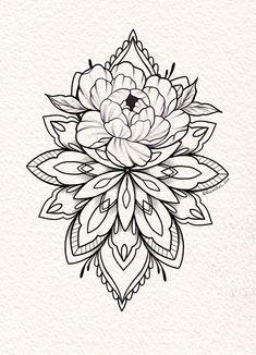 Tattoo Mandala Feminina, Dotwork Tattoo Mandala, Mandala Flower Tattoos, Flower Tattoo Drawings, Tattoo Design Drawings, Tattoo Sleeve Designs, Flower Mandala, Tattoo Sketches, Sleeve Tattoos