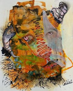 """Mixed media / Techniques mixtes - 19"""" x 15"""" / 48 x 38 cm Paper, Painting, Art, Painting Art, Paintings, Kunst, Paint, Draw, Art Education"""