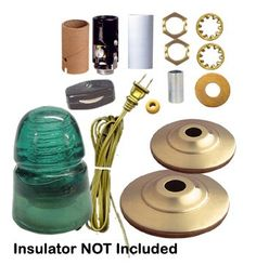 Insulator Night Light Kit: Lamp Shop -- I have a white one but a blue/green would rock! Electric Insulators, Insulator Lights, Glass Insulators, Glass Jug, Glass Bottles, Rustic Lighting, Industrial Lighting, Lighting Design, Christmas Gift For Dad