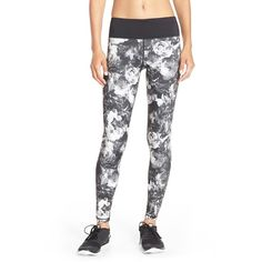 Betsey Johnson 'English Rose' Floral Leggings ($72) ❤ liked on Polyvore featuring activewear, activewear pants, black combo and betsey johnson