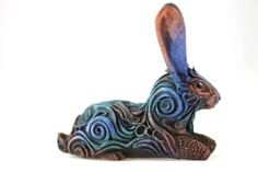 THESE ARE SO BEAUTIFUL   Hare Rabbit Sculpture totem figurine Mascot Amulet - black rabbit, velvet clay, unusual gift