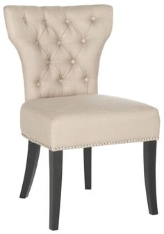 Safavieh Furniture MCR4720A-SET2 - Designed for a touch of glamour around the dining table, the biscuit beige Dharma tufted side chair is brimming with transitional allure. Its curvaceous se