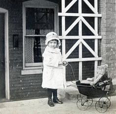 vintage photo Little Charlotte Dolled up w Steiff TEddy Bear Doll Buggy 1920. $18.00, via Etsy.